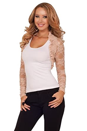 New Hot Fitted Party Cocktail Long Sleeve Floral Ruffle Sexy Lace Shrug Crop Jacket