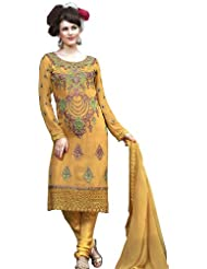 Exotic India Golden Apricot Choodidaar Kameez Suit With Metalli - Golden Apricot