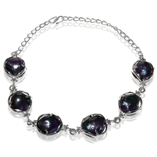 Rhodium Plated Dark Purple Shell Pearl Bracelet [Jewelry]