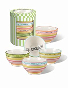 """Grasslands Road Sweet Soiree 5-1/2-Inch by 3"""" Ice Cream Bowls 4 Styles, Set of 4"""