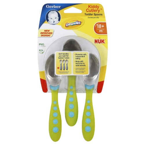 Gerber Graduates Kiddy Cutlery Spoons in Neutral Colors, 3-count (Children Spoon compare prices)