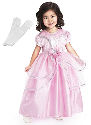 Pink Princess Dress Up Costume for Girls + White Satin Gloves Set - Large (Pink Velvet Princess Costume)