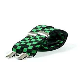 SKA Check Trouser Braces - Pink, Green, Purple, Red, Blue or White (Black and Green)