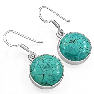 Elegance New Fashion Awesome Pattern Round Tibetan Turquoise Gemstone 925 Sterling Silver Earrings Jewelry Ltp20
