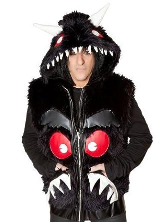 Black Faux Fur Unisex Monster Vest - LARGE