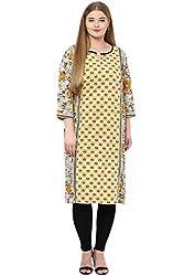 Alto Moda by Pantaloons Women's Straight Kurta (205000005659355, Yellow, XX-Large)