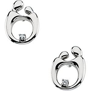 IceCarats Designer Jewelry 14K White Gold Mother And Child Diamond Post Earring. 13.50X09.75 Mm Pair