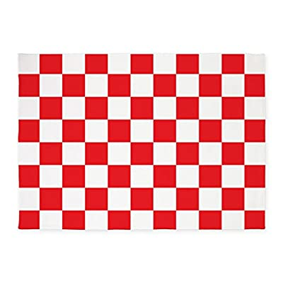 CafePress - RED AND WHITE Checkered Pattern - Decorative Area Rug, 5'x7' Throw Rug