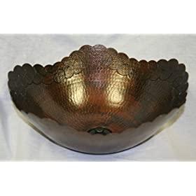 "SimplyCopper 14"" Round Copper Vessel Bathroom Sink with Intricate Edging"