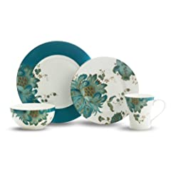 222 Fifth Eliza 16-Piece Dinnerware Set, Teal by 222 Fifth