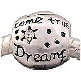 """Dreams Really Do Come True"" - Silver Plated Charm Bead - fits Pandora, Chamilia etc style Bracelets - SpangleBead"