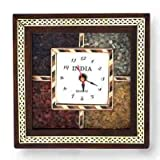 Little India Antique Handcrafted Gemstone Wooden Wall Clock (189, Brown)