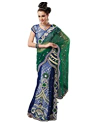 Green And Navy Blue Color Net Saree With Blouse