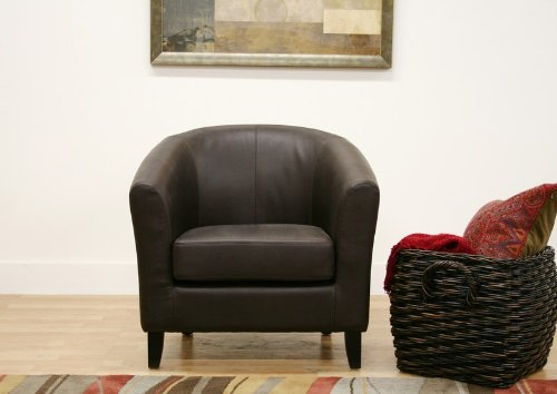 club chair with curved back in dark brown leather