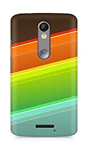 Amez designer printed 3d premium high quality back case cover for Motorola Moto X Force (Lines orange red blue)