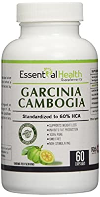 #1 Top Rated Pure Garcinia Cambogia Extract with 60% Hca Extra Strength Essential Health Best Weight Loss Supplement 1000mg Per Serving Great Natural Appetite Suppressant 60 Fast Release Capsules