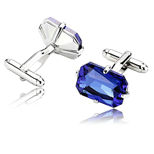 amdxd-jewelry-stainless-steel-men-cufflinks-blue-four-claw-polygon-with-cubic-cuff-links-cuff-links
