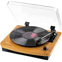 Musitrend MUSITREND-T1107PC LP 3-Speed Turntable w/Built-in Stereo Speakers (Natural Wood)