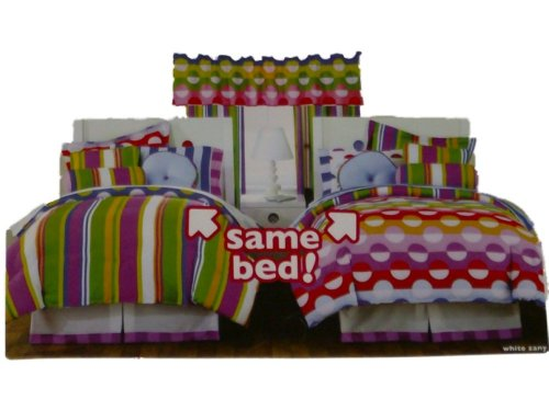 Little Miss Matched Twin Bed in a Bag Dots & Stripes Comforter Set Sheets 8 pc