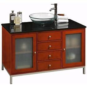 "Amanda 46 Inch Cherry Modern Vessel Sink Cabinet Vanity, SGL 46""W GLS DR, CHERRY"