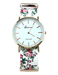 Geneva Platinum Big Size Analog White Dial Womens Watch - GP-150