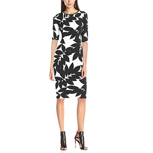 Lady Dress, Misaky O-neck Elastic Waist Print Dress  (S, Multicolor) (Dress Sales Australia)