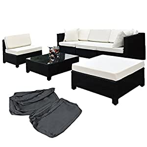 TecTake Luxury Rattan Aluminium Garden Furniture Sofa Set Outdoor Wicker black + 2 Sets For Exchanging The Upholstery, stainless steel screws