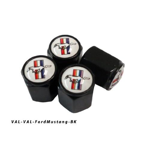 AGT Aluminum Black Valve Caps Tire Cap Stem for Ford Mustang Wheels (Pack of 4)
