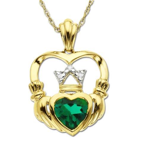 14k Yellow Gold Created Emerald and Diamond Claddagh Pendant
