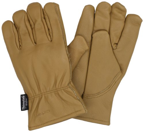 Carhartt Men'S Insulated Full Grain Leather Driver Work Glove, Brown, Large