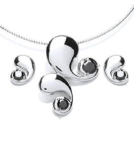 Rocio Illumini - R0602N/R0605N - Parure collier et boucles d'oreilles Femme - Rhodium plaqué 19.9 Gr - Oxyde de zirconium