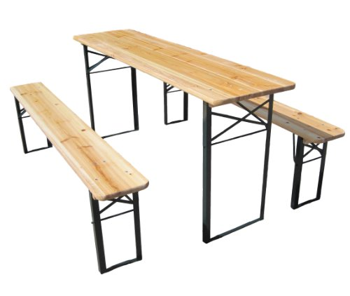 Outdoor Wood Wooden Vingtage Folding Beer Table Bench Set Trestle Party Picnic Pub Garden Furniture Steel Leg