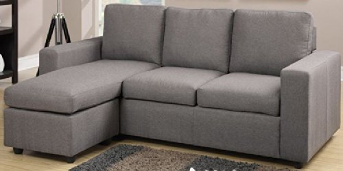 Modern Grey Linen-Like Fabric Reversible Sectional Sofa by Poundex