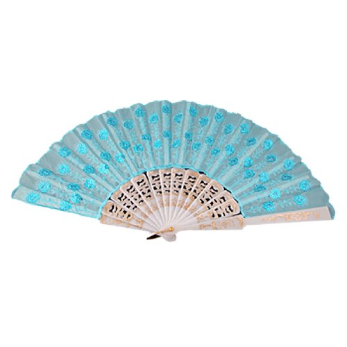 uxcell® Fabric Asia Style Folding Hand Fan for Ladies Skyblue