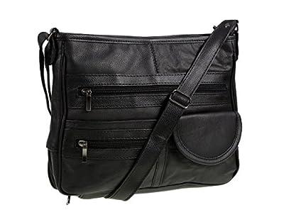 Lorenz - Sac à main en cuir véritable multi-poches - Noir