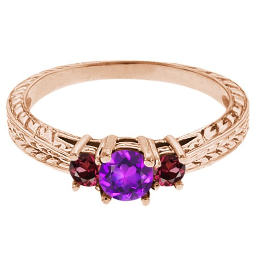 0.60 Ct Round Purple Amethyst Red Rhodolite Garnet 14K Rose Gold 3-Stone Ring
