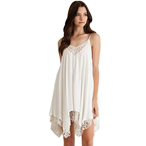 Wensltd Clearance! Women White Lace Cocktail Party Princess Dress (L)