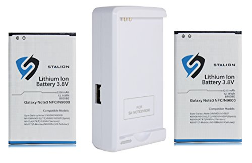 Note 3 Battery : Stalion® Strength Replacement 3200mAh Li-Ion Battery for Samsung Galaxy Note 3 [24-Month Warranty] 2X Batteries + Stalion® Power Travel Battery Charger + USB Port (NFC Chip + Google W
