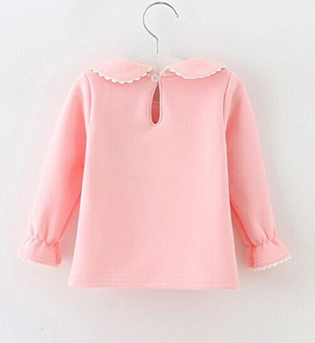 Baby Girls Cotton Long Sleeve T Shirt Blouse Tops Bottom Tee 18-24Months Light Pink