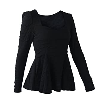 FUNOC Womens Ladies Peplum Long Puff Sleeve Low-cut Ruffled Fitted T