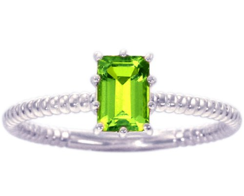 14K White Gold Octagon Gemstone Solitaire Stackable Ring-Peridot, size7.5