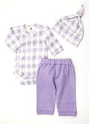 Kate Quinn Organic Play Set (Kimono Bodysuit, Pants, Hat), 3-6M (Nouveau)
