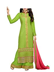 Admyrin Women Green Georgette Dress Material