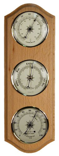 Weather Station Barometer Thermometer Hygrometer in Light Oak Wood