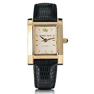 Georgia Tech Ladies Gold Quad with Leather Strap by M.LaHart