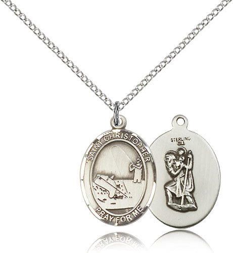 .925 Sterling Silver St. Saint Sebastian / Motorcycle Harley Rider Medal Pendant 3/4 x 1/2