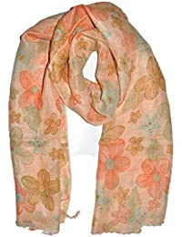 Scarf Store Women's Scarf (DBG 39_Orange Brown Turquoise_Free Size)
