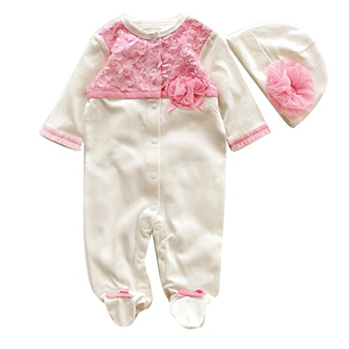 GBSELL 2pcs Newborn Infant Baby Girls Lace Floral Hat + Romper Bodysuit Outfit Clothing Set (White, 0-3 Month)