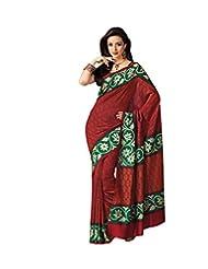 Anvi Creations Red Bhagalpuri Cotton Silk Saree (Red_Free Size)