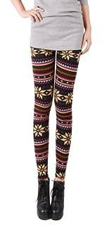 Multi-Colored Warm Footless Leggings for Women/Girls - Striped w/ Fashion Snowflake Pattern